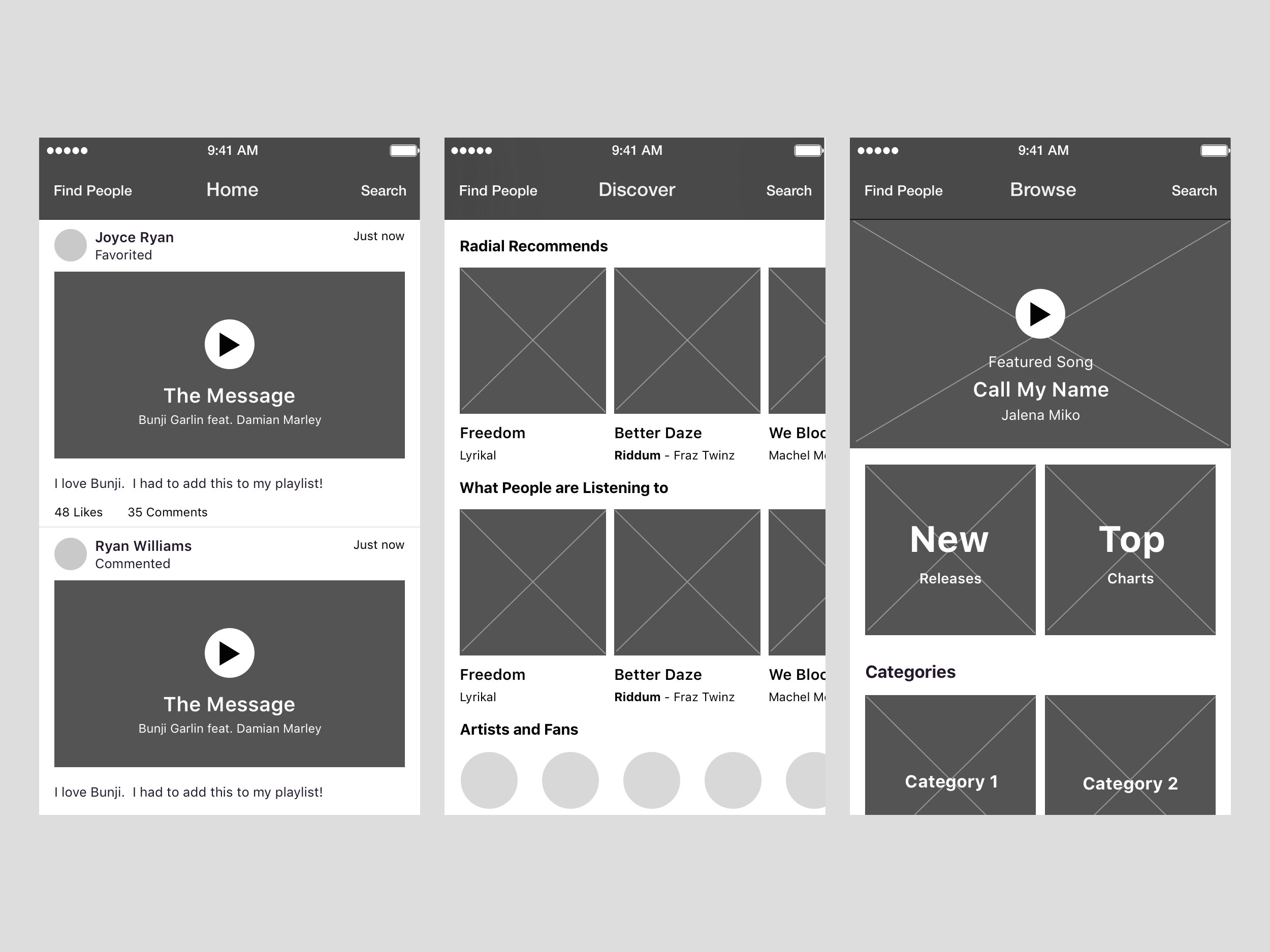 Main Wireframes