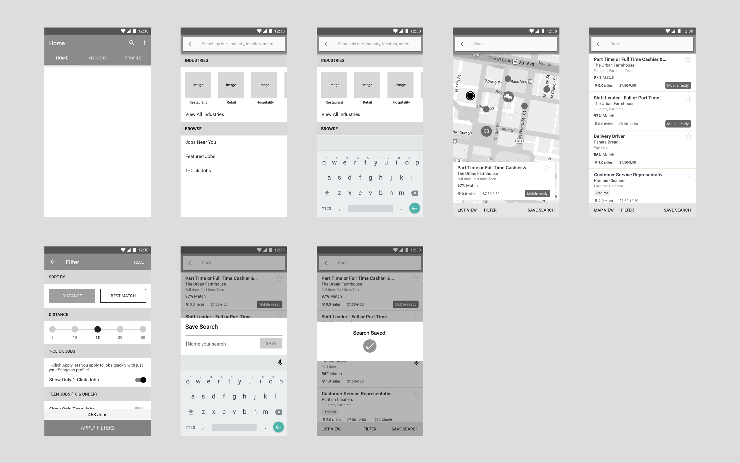 Snagajob Search Wireframes V1